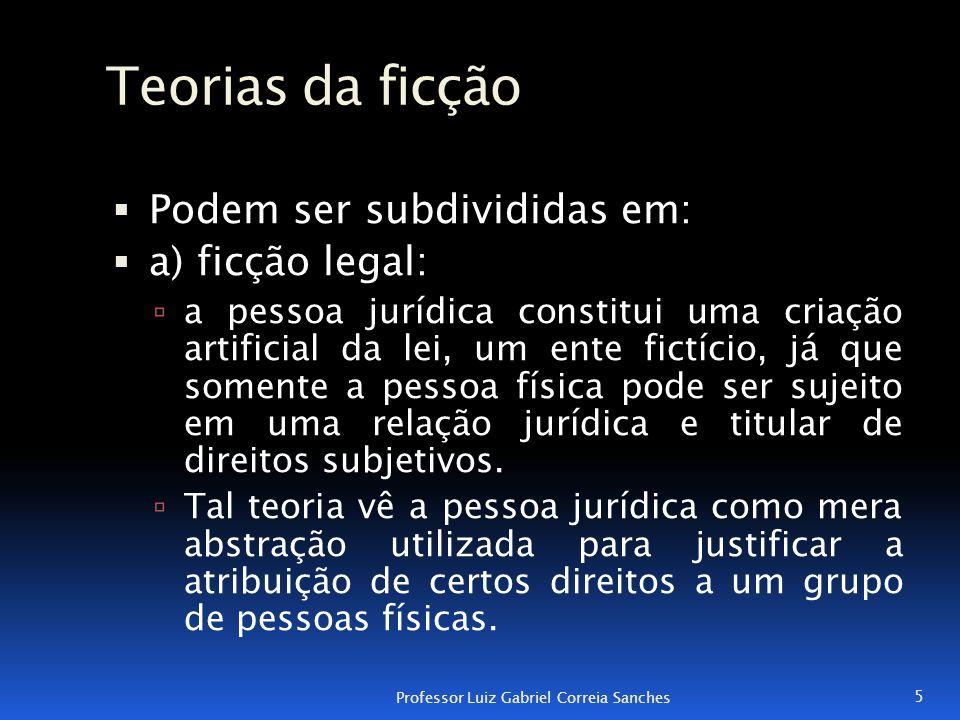 Teorias da ficção  Podem ser subdivididas em:  a) ficção legal:  a pessoa jurídica constitui uma criação artificial da lei, um ente fictício, já qu