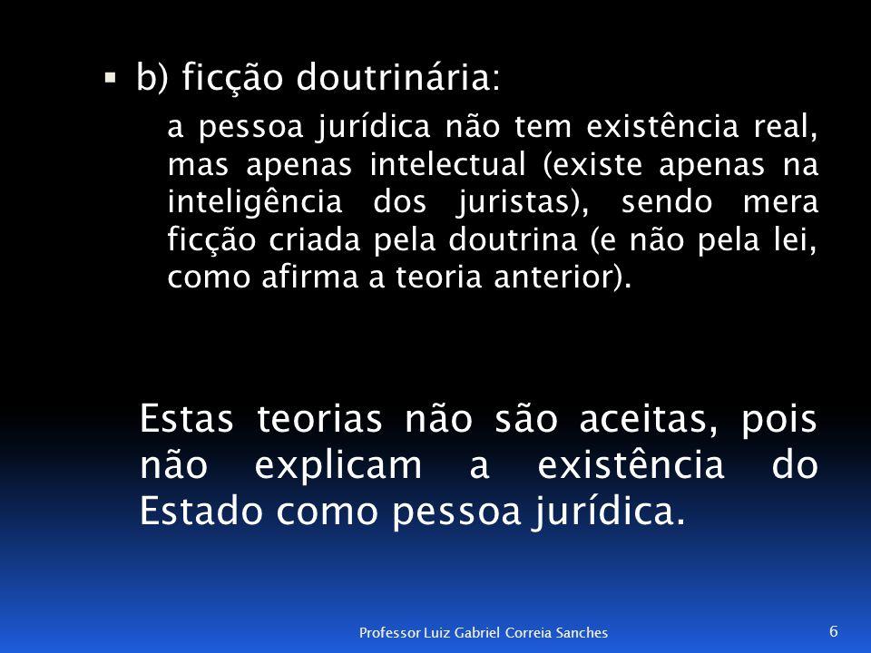  b) ficção doutrinária: a pessoa jurídica não tem existência real, mas apenas intelectual (existe apenas na inteligência dos juristas), sendo mera fi