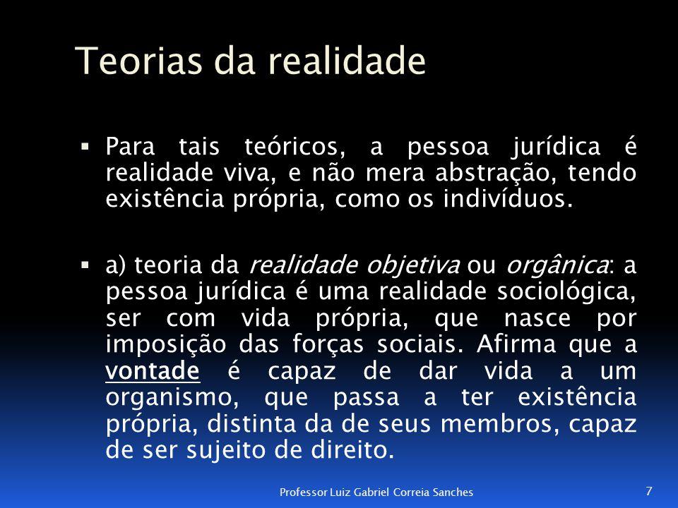 Teorias da realidade  Para tais teóricos, a pessoa jurídica é realidade viva, e não mera abstração, tendo existência própria, como os indivíduos.  a