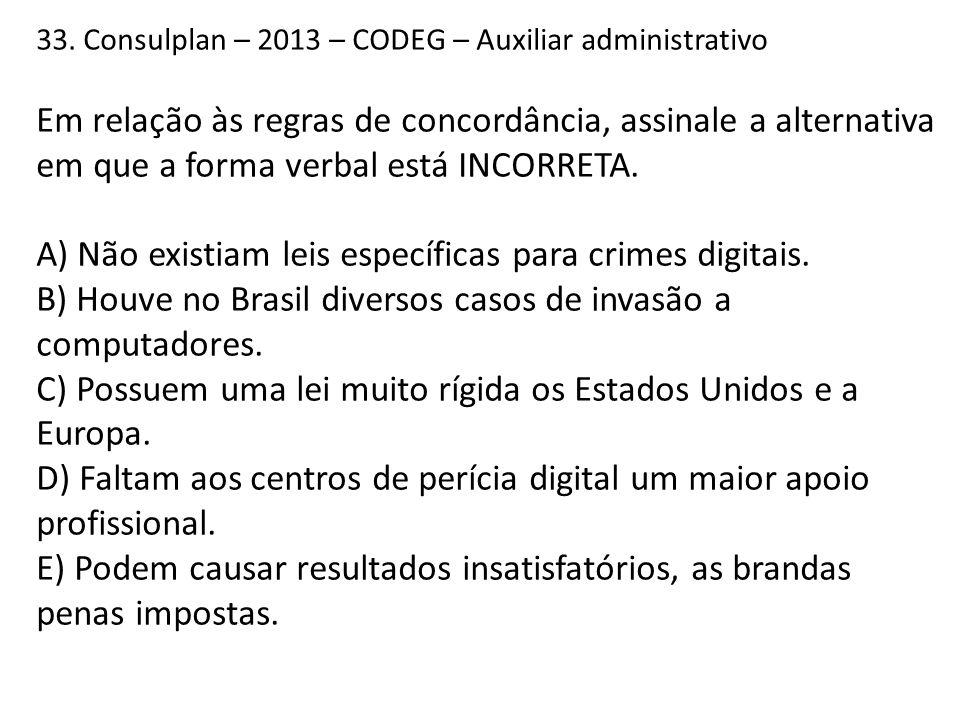 33. Consulplan – 2013 – CODEG – Auxiliar administrativo Em relação às regras de concordância, assinale a alternativa em que a forma verbal está INCORR
