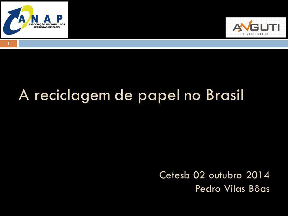 1 A reciclagem de papel no Brasil Cetesb 02 outubro 2014 Pedro Vilas Bôas