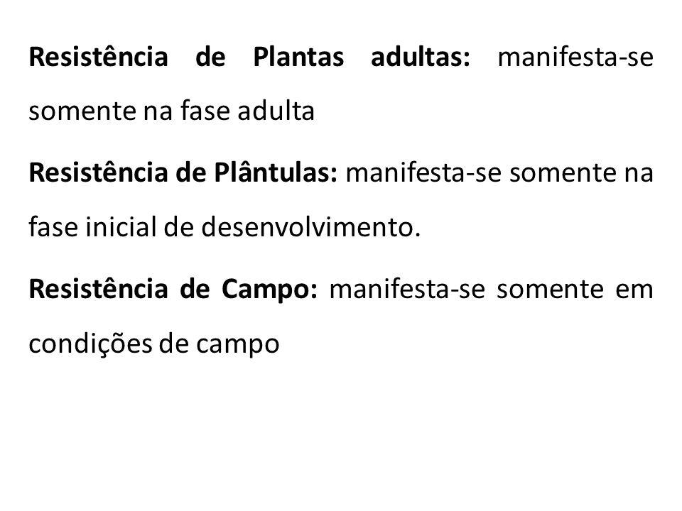 Resistência de Plantas adultas: manifesta-se somente na fase adulta Resistência de Plântulas: manifesta-se somente na fase inicial de desenvolvimento.