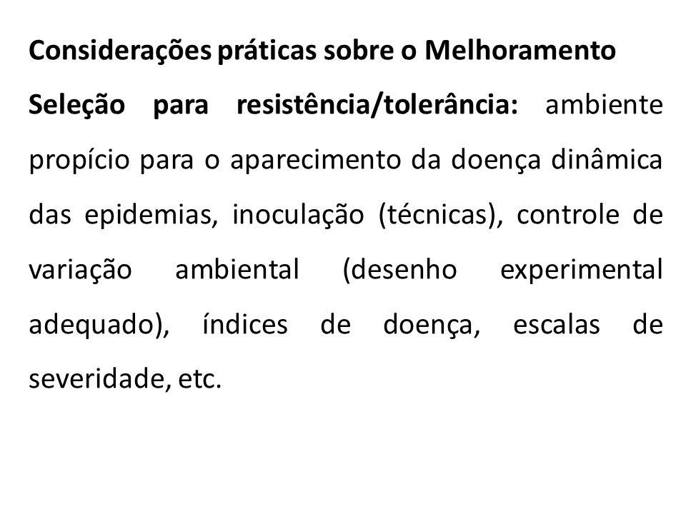 Considerações práticas sobre o Melhoramento Seleção para resistência/tolerância: ambiente propício para o aparecimento da doença dinâmica das epidemia
