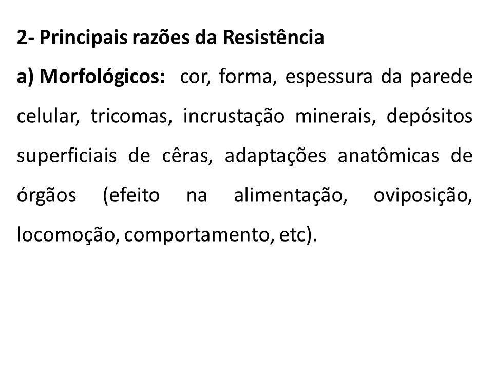 2- Principais razões da Resistência a) Morfológicos: cor, forma, espessura da parede celular, tricomas, incrustação minerais, depósitos superficiais d