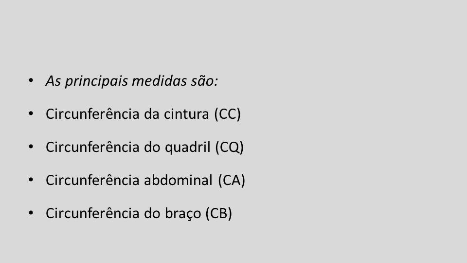 As principais medidas são: Circunferência da cintura (CC) Circunferência do quadril (CQ) Circunferência abdominal (CA) Circunferência do braço (CB)