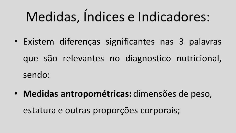 Medidas, Índices e Indicadores: Existem diferenças significantes nas 3 palavras que são relevantes no diagnostico nutricional, sendo: Medidas antropom