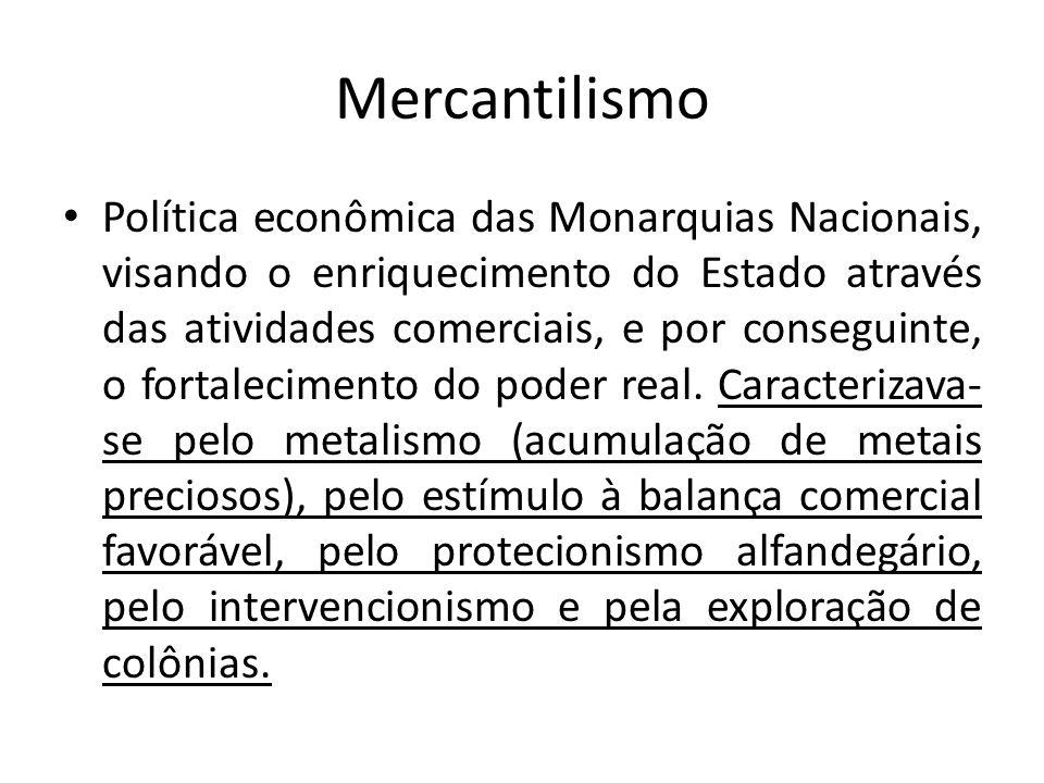 Mercantilismo Política econômica das Monarquias Nacionais, visando o enriquecimento do Estado através das atividades comerciais, e por conseguinte, o