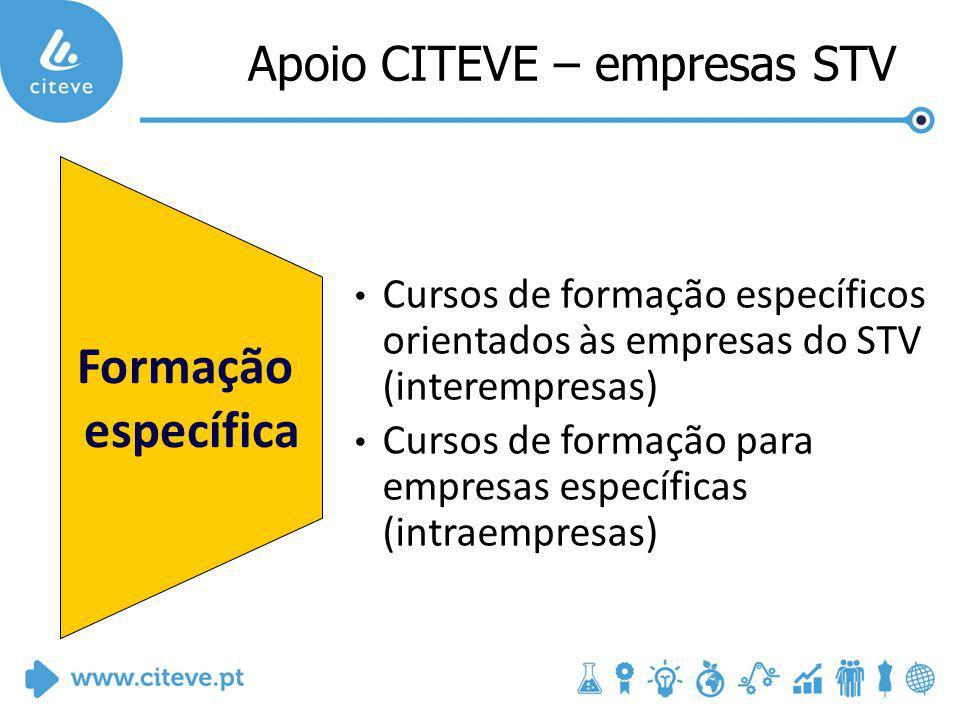 Formação específica Cursos de formação específicos orientados às empresas do STV (interempresas) Cursos de formação para empresas específicas (intraempresas) Apoio CITEVE – empresas STV