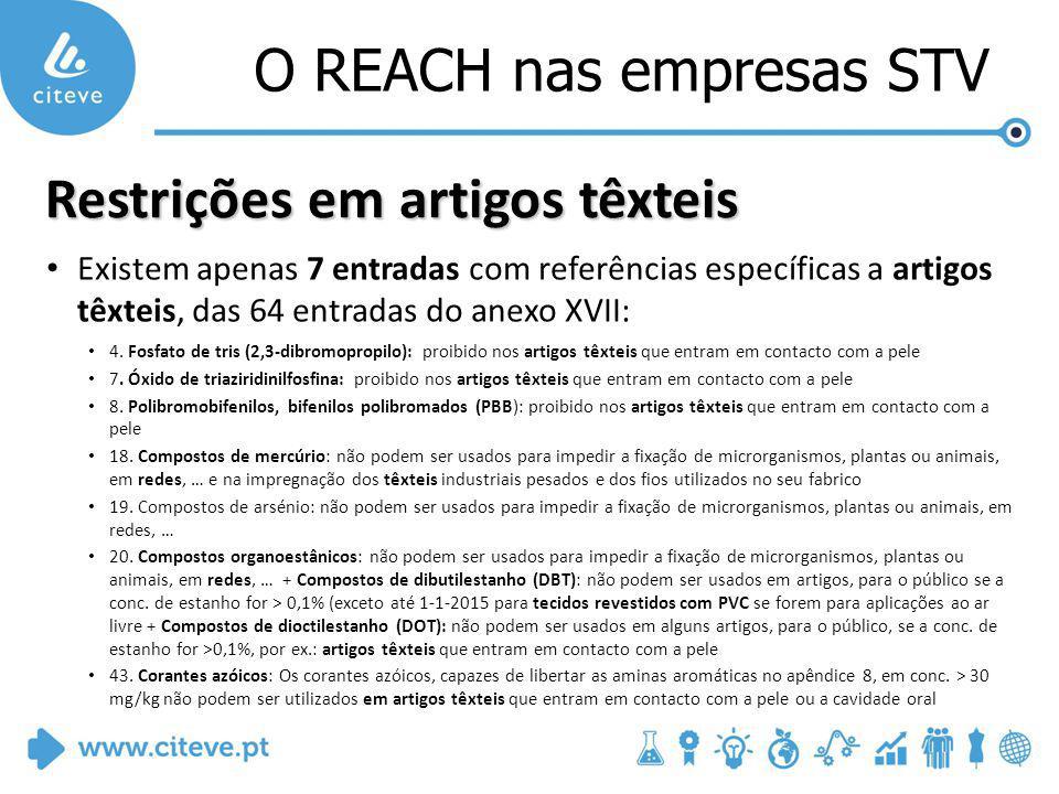 O REACH nas empresas STV Restrições em artigos têxteis Existem apenas 7 entradas com referências específicas a artigos têxteis, das 64 entradas do anexo XVII: 4.
