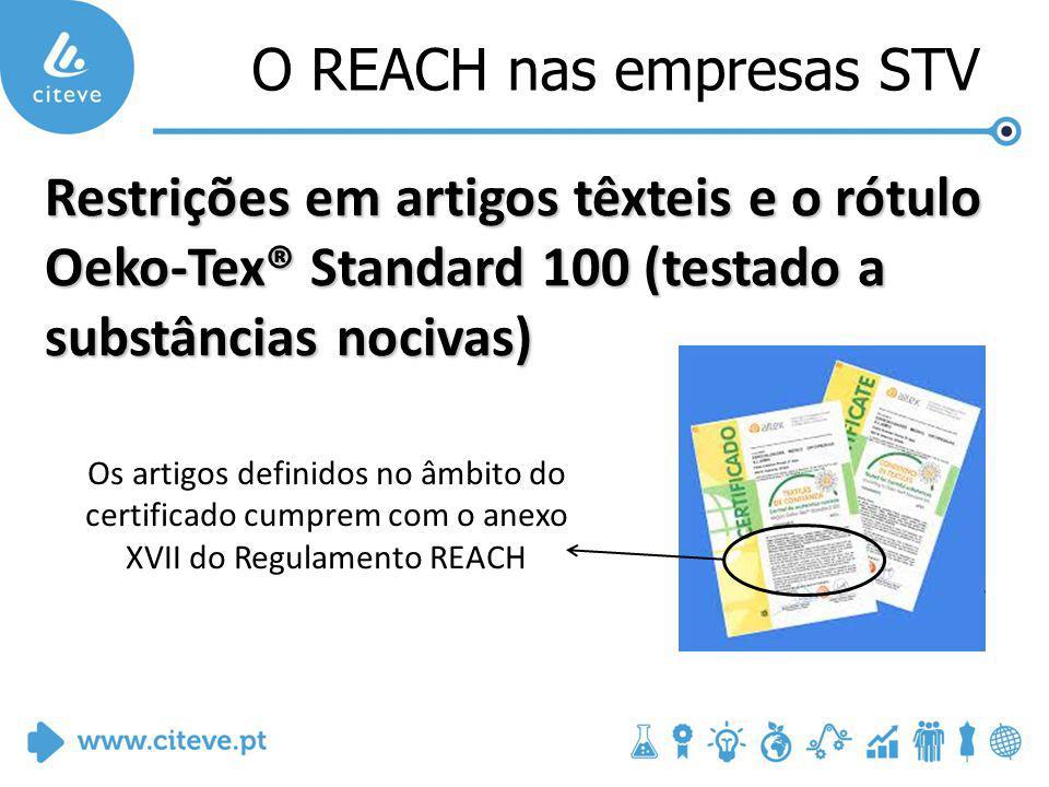 O REACH nas empresas STV Restrições em artigos têxteis e o rótulo Oeko-Tex® Standard 100 (testado a substâncias nocivas) Os artigos definidos no âmbito do certificado cumprem com o anexo XVII do Regulamento REACH