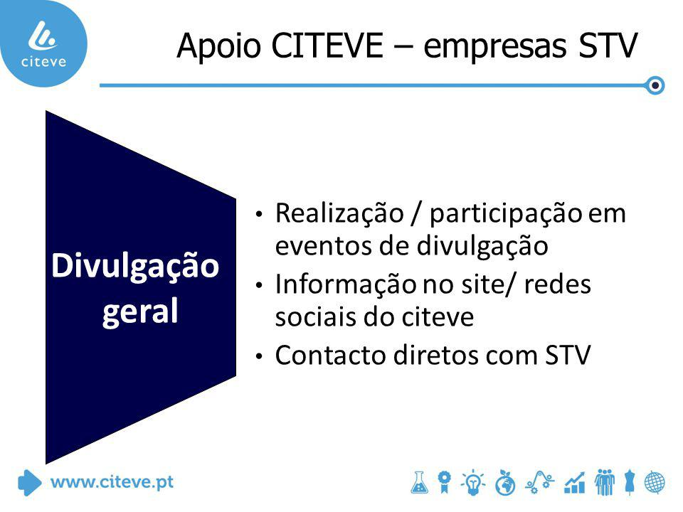 Divulgação geral Realização / participação em eventos de divulgação Informação no site/ redes sociais do citeve Contacto diretos com STV Apoio CITEVE – empresas STV