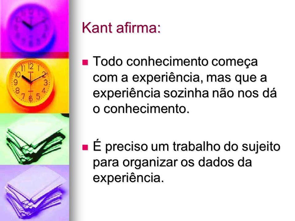 Kant afirma: Todo conhecimento começa com a experiência, mas que a experiência sozinha não nos dá o conhecimento. Todo conhecimento começa com a exper