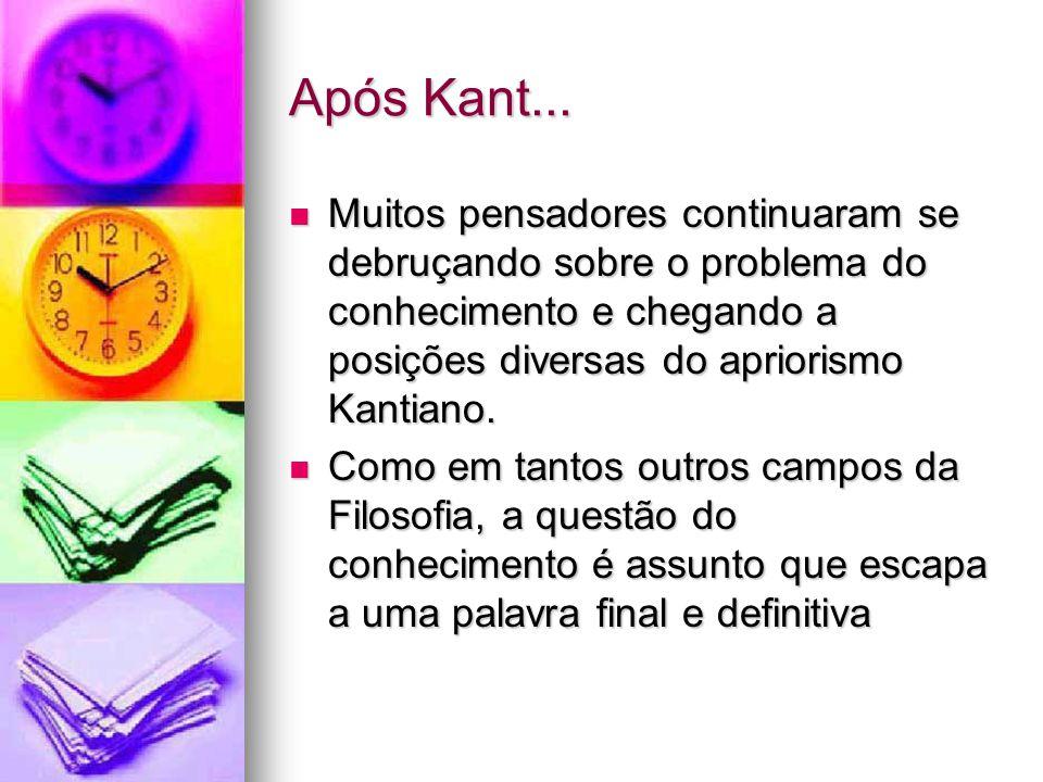 Após Kant...