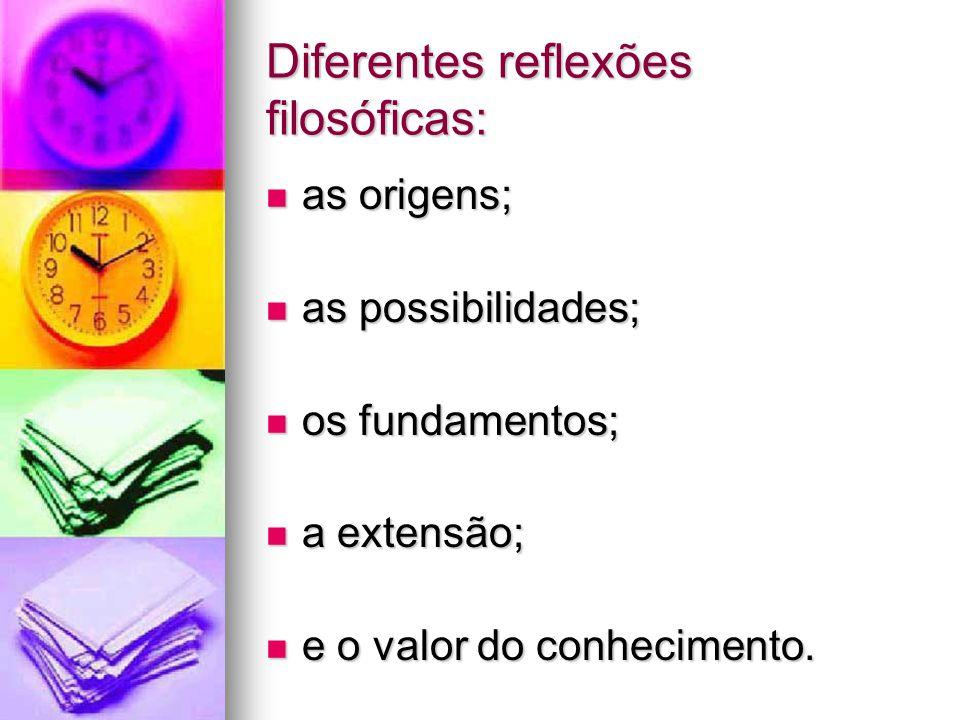 Diferentes reflexões filosóficas: as origens; as origens; as possibilidades; as possibilidades; os fundamentos; os fundamentos; a extensão; a extensão