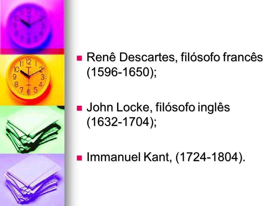 Renê Descartes, filósofo francês (1596-1650); Renê Descartes, filósofo francês (1596-1650); John Locke, filósofo inglês (1632-1704); John Locke, filós