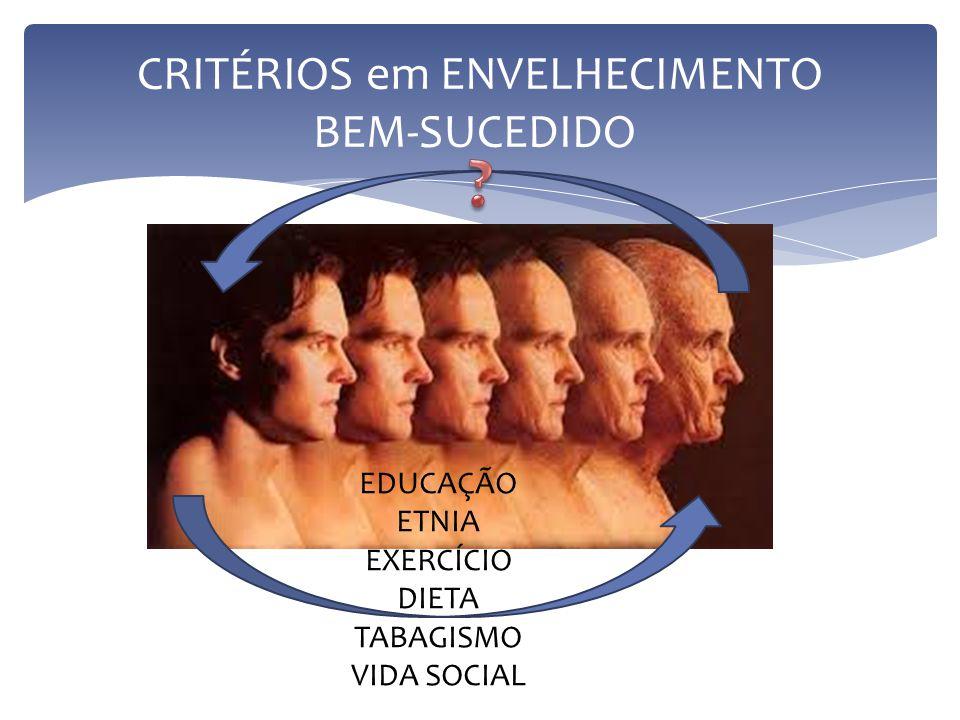 CRITÉRIOS em ENVELHECIMENTO BEM-SUCEDIDO EDUCAÇÃO ETNIA EXERCÍCIO DIETA TABAGISMO VIDA SOCIAL