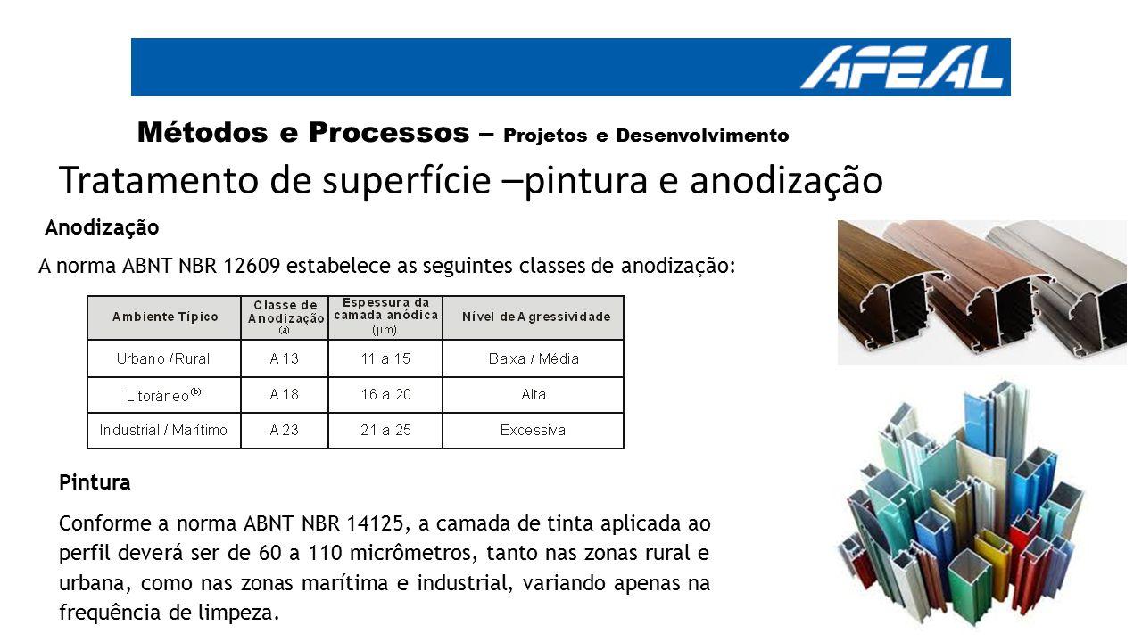 Tratamento de superfície –pintura e anodização Anodização A norma ABNT NBR 12609 estabelece as seguintes classes de anodização: Métodos e Processos –