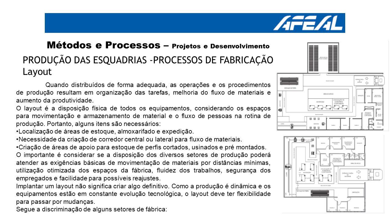 Métodos e Processos – Projetos e Desenvolvimento PRODUÇÃO DAS ESQUADRIAS -PROCESSOS DE FABRICAÇÃO Layout Quando distribuídos de forma adequada, as ope