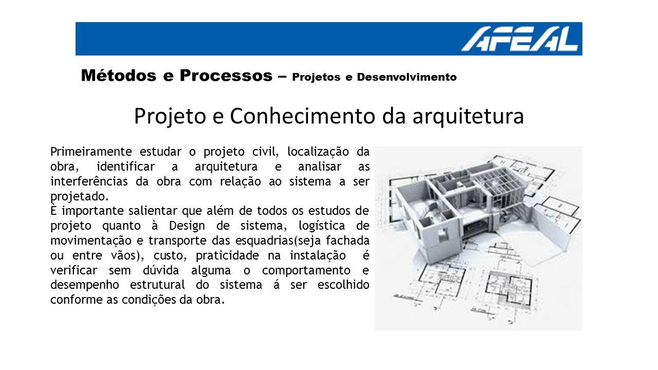Métodos e Processos – Projetos e Desenvolvimento Projeto e Conhecimento da arquitetura Primeiramente estudar o projeto civil, localização da obra, ide