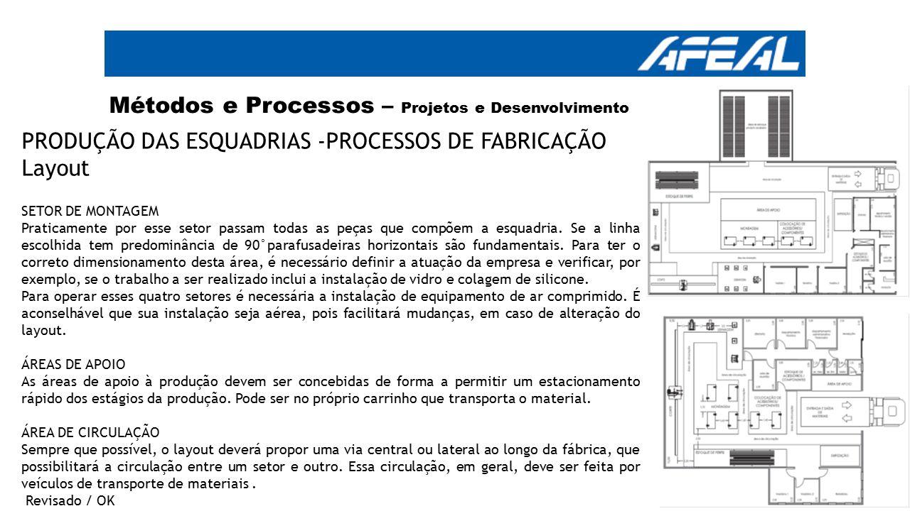 Métodos e Processos – Projetos e Desenvolvimento PRODUÇÃO DAS ESQUADRIAS -PROCESSOS DE FABRICAÇÃO Layout SETOR DE MONTAGEM Praticamente por esse setor