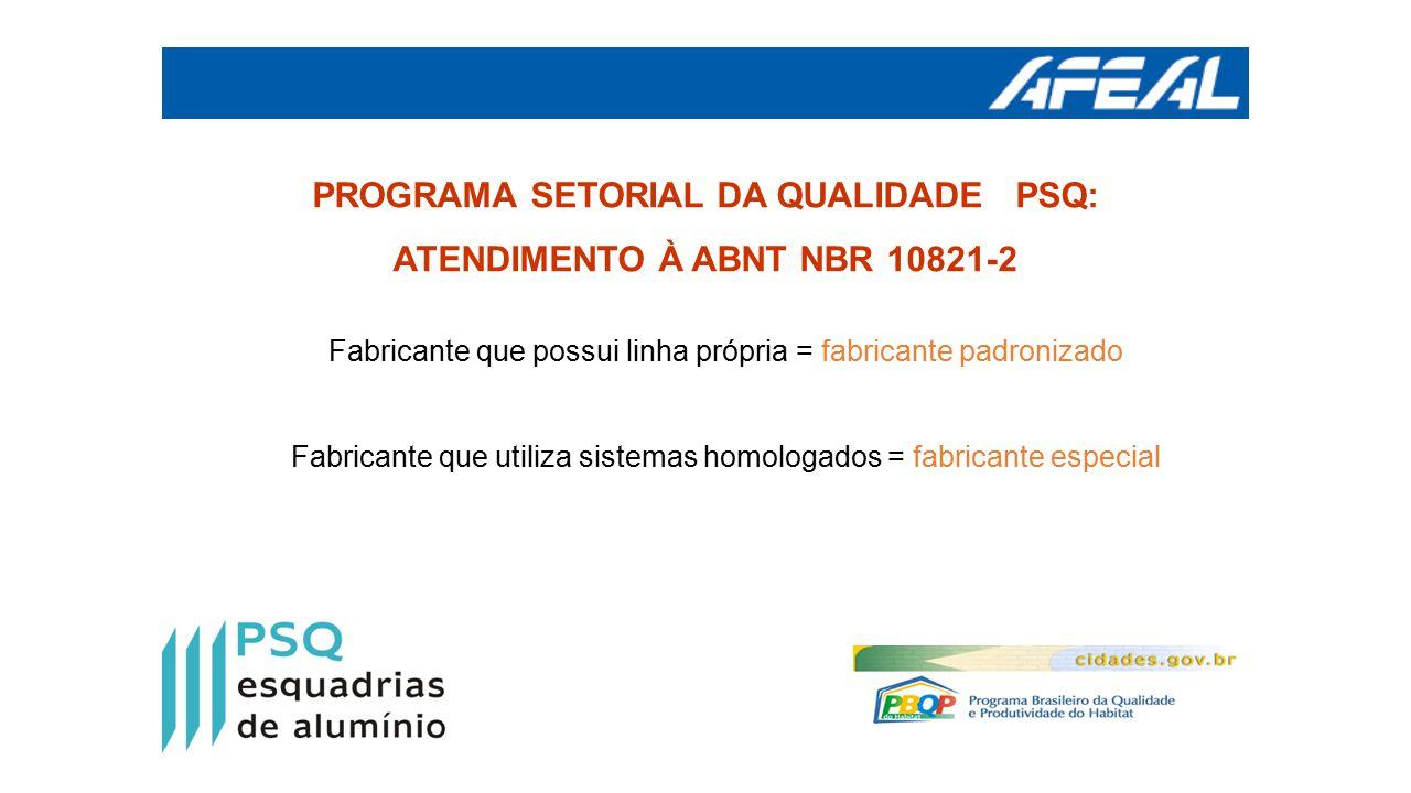PROGRAMA SETORIAL DA QUALIDADE PSQ: ATENDIMENTO À ABNT NBR 10821-2 Fabricante que possui linha própria = fabricante padronizado Fabricante que utiliza