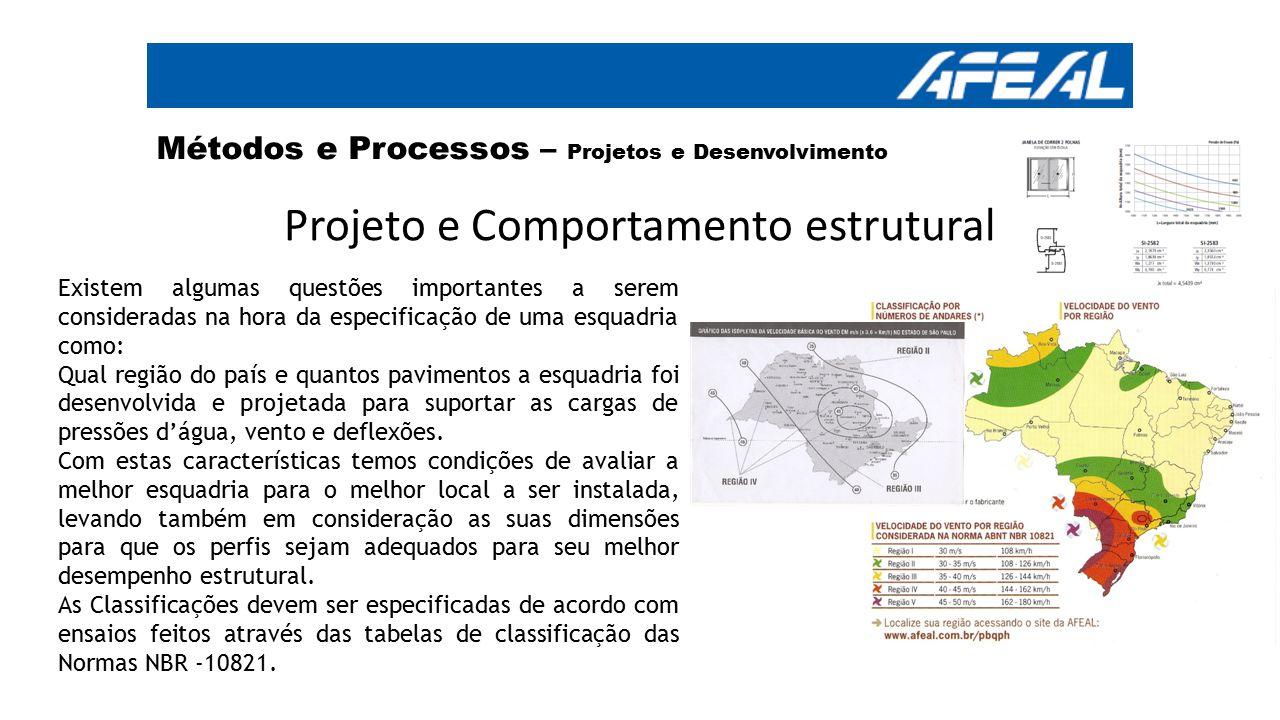 Projeto e Comportamento estrutural Existem algumas questões importantes a serem consideradas na hora da especificação de uma esquadria como: Qual regi