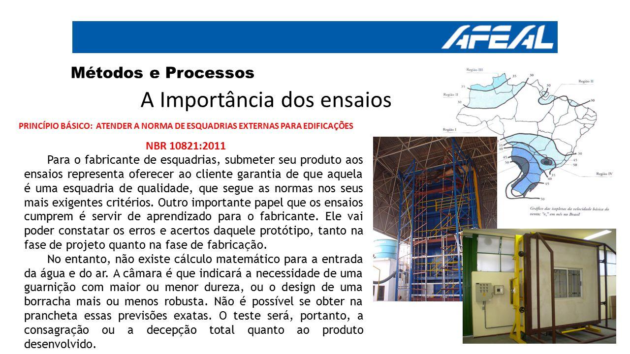 Métodos e Processos A Importância dos ensaios PRINCÍPIO BÁSICO: ATENDER A NORMA DE ESQUADRIAS EXTERNAS PARA EDIFICAÇÕES NBR 10821:2011 Para o fabrican
