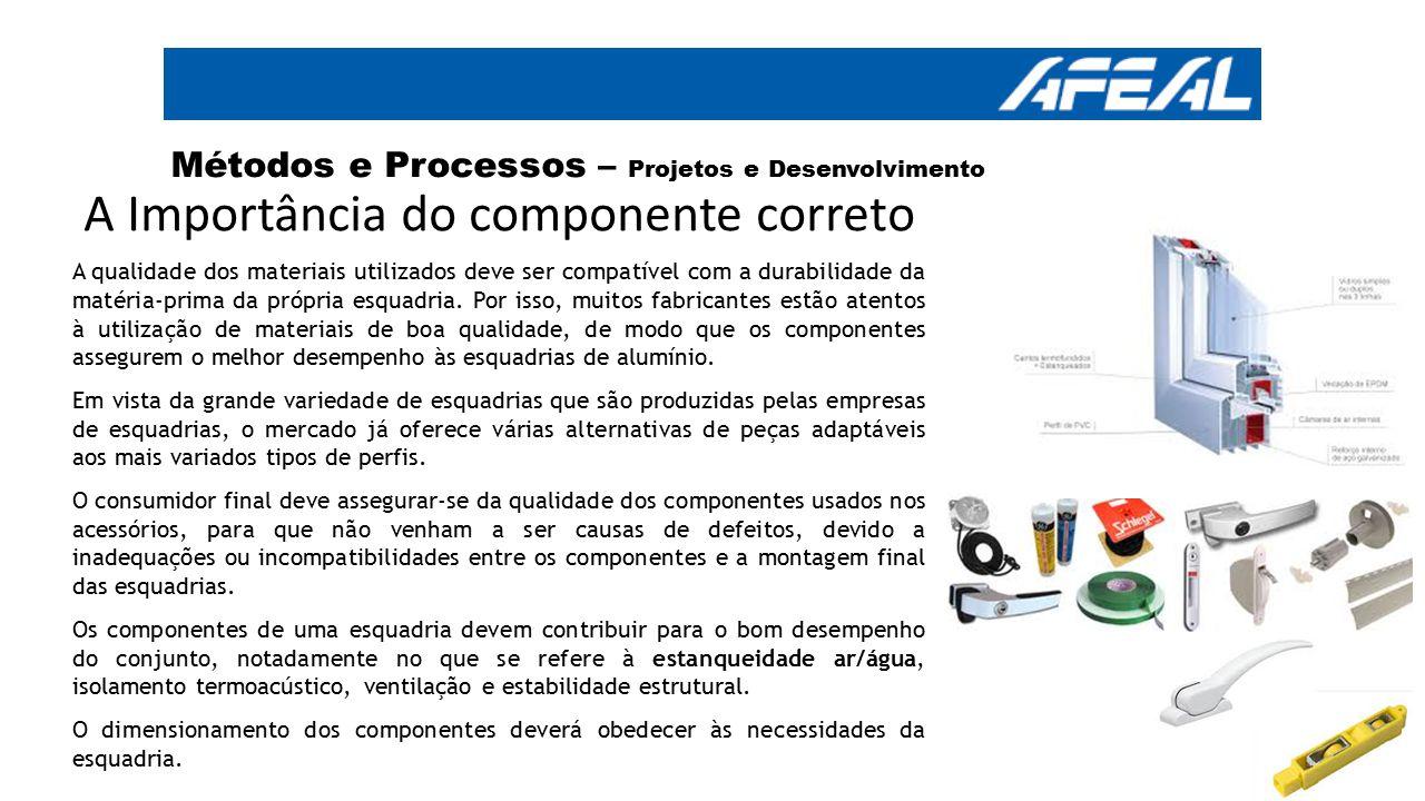 A Importância do componente correto A qualidade dos materiais utilizados deve ser compatível com a durabilidade da matéria-prima da própria esquadria.
