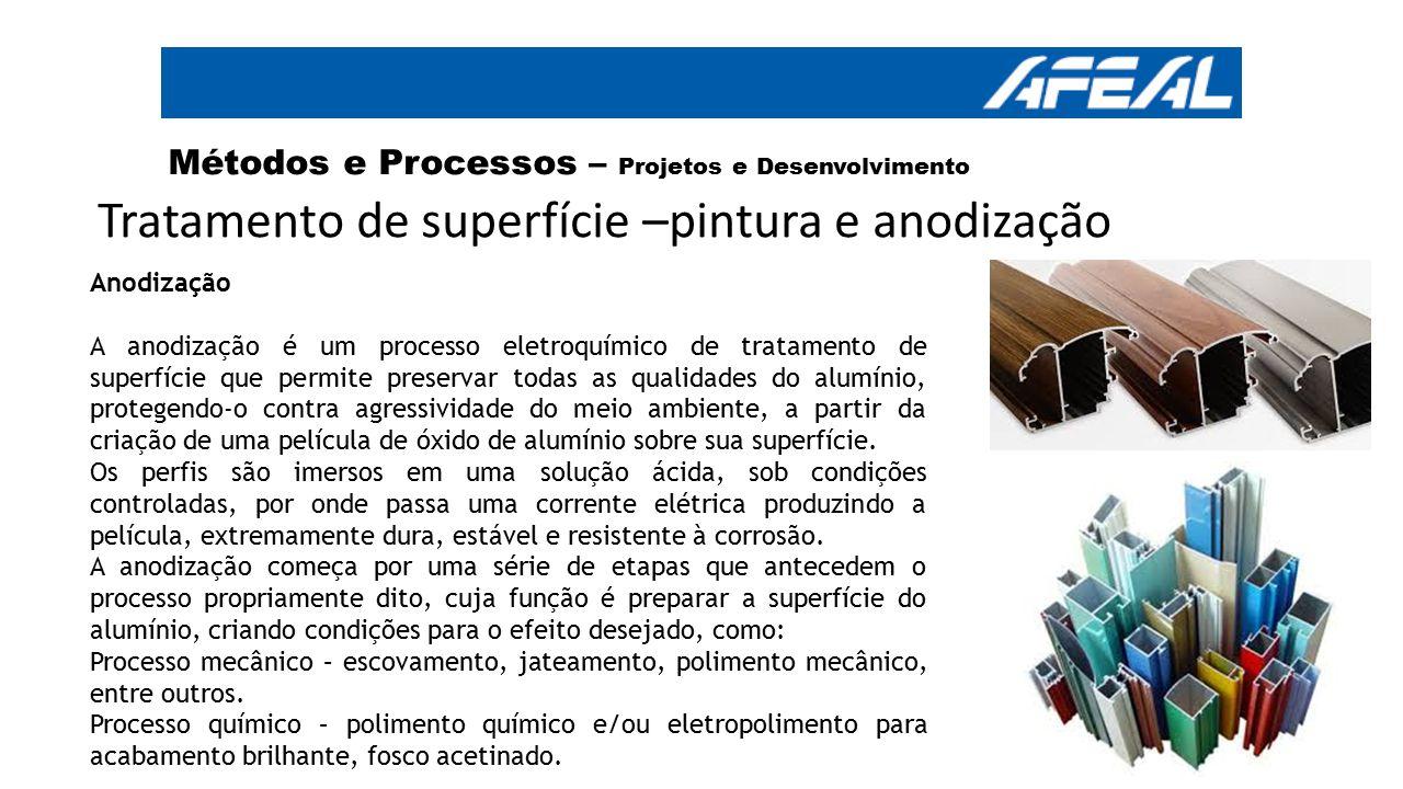 Tratamento de superfície –pintura e anodização Métodos e Processos – Projetos e Desenvolvimento Anodização A anodização é um processo eletroquímico de