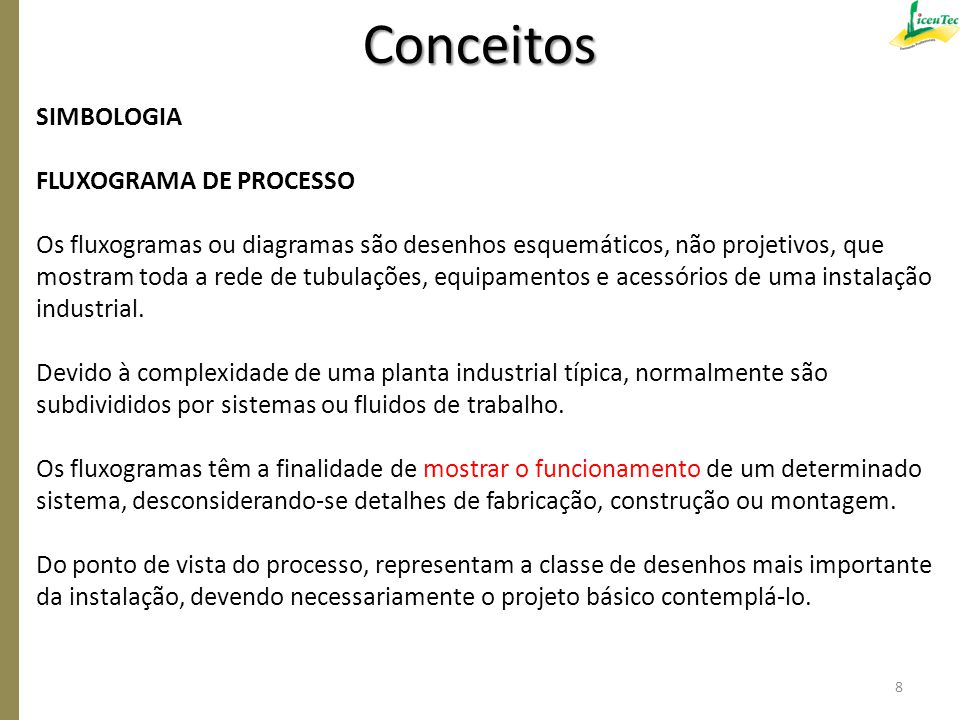 SIMBOLOGIA FLUXOGRAMA DE PROCESSO Os fluxogramas ou diagramas são desenhos esquemáticos, não projetivos, que mostram toda a rede de tubulações, equipa