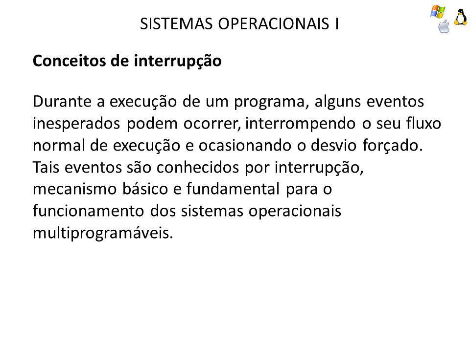 SISTEMAS OPERACIONAIS I Conceitos de interrupção Durante a execução de um programa, alguns eventos inesperados podem ocorrer, interrompendo o seu flux