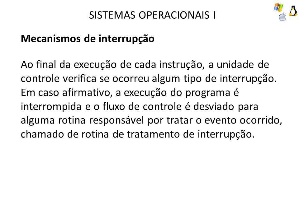 SISTEMAS OPERACIONAIS I Mecanismos de interrupção Ao final da execução de cada instrução, a unidade de controle verifica se ocorreu algum tipo de inte