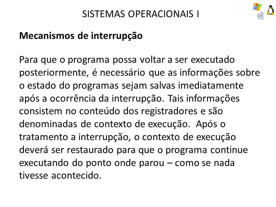 SISTEMAS OPERACIONAIS I Mecanismos de interrupção Para que o programa possa voltar a ser executado posteriormente, é necessário que as informações sob