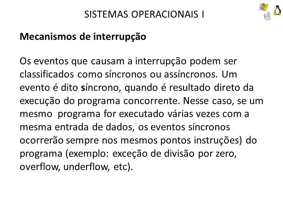 SISTEMAS OPERACIONAIS I Mecanismos de interrupção Os eventos que causam a interrupção podem ser classificados como síncronos ou assíncronos.