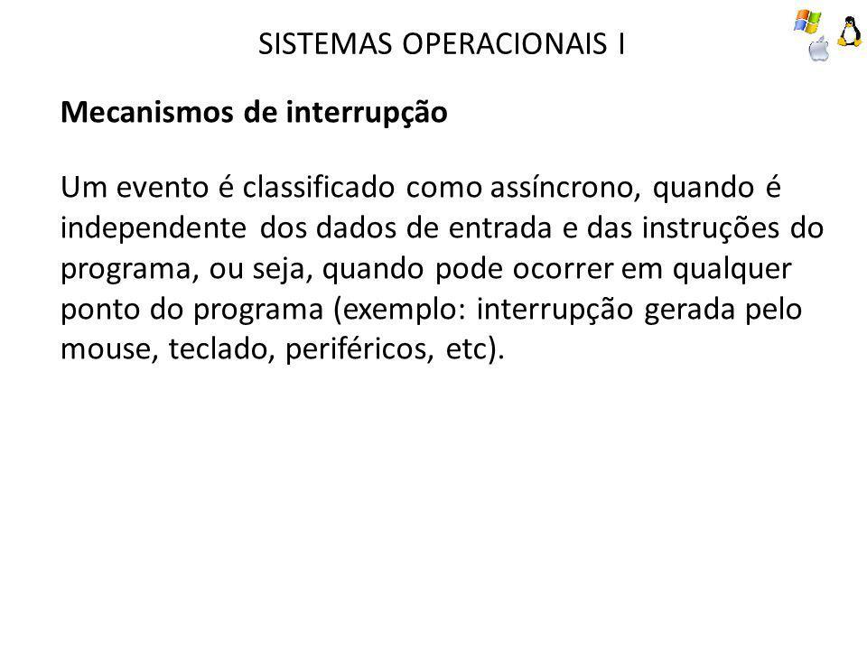 SISTEMAS OPERACIONAIS I Mecanismos de interrupção Um evento é classificado como assíncrono, quando é independente dos dados de entrada e das instruções do programa, ou seja, quando pode ocorrer em qualquer ponto do programa (exemplo: interrupção gerada pelo mouse, teclado, periféricos, etc).