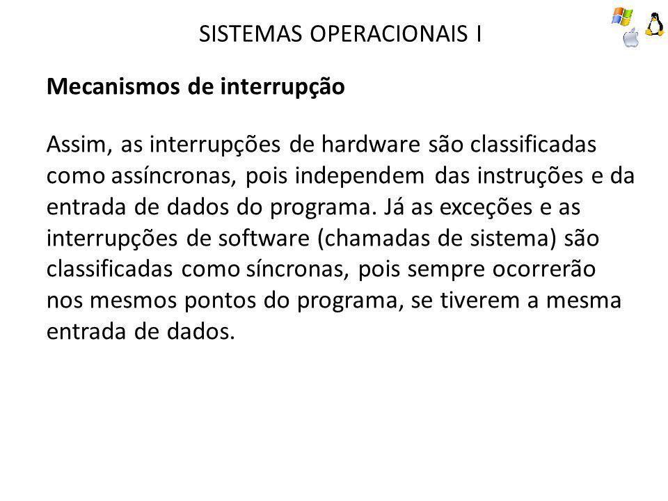 SISTEMAS OPERACIONAIS I Mecanismos de interrupção Assim, as interrupções de hardware são classificadas como assíncronas, pois independem das instruções e da entrada de dados do programa.