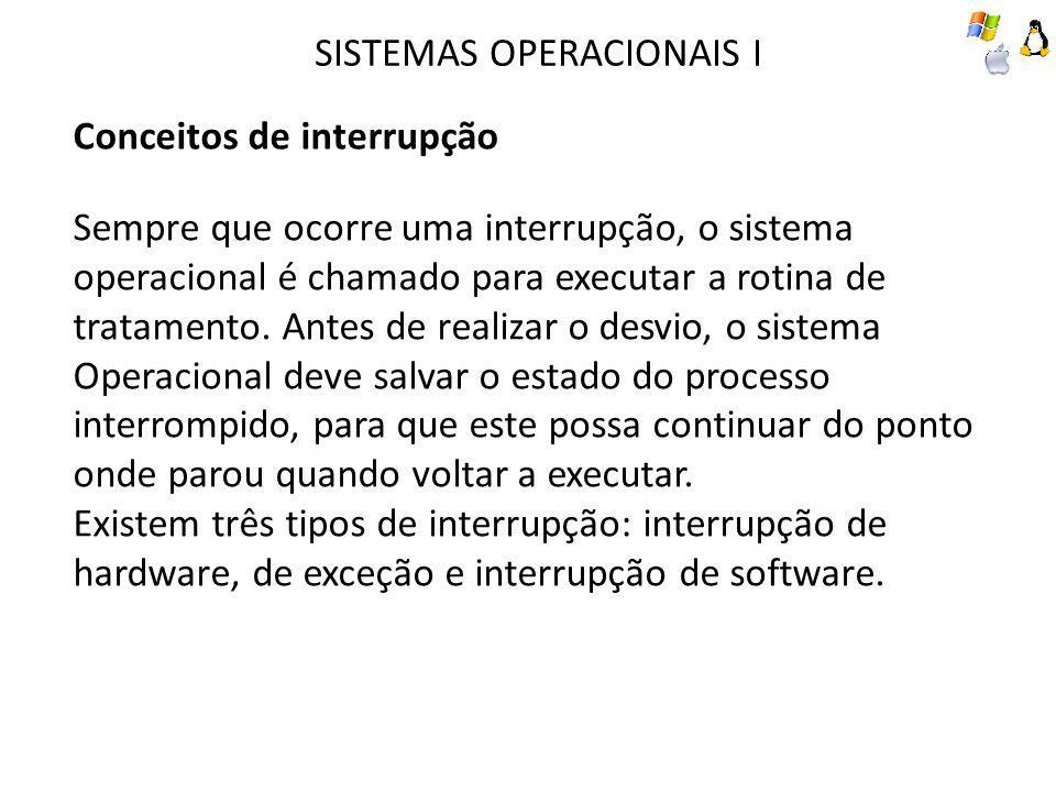 SISTEMAS OPERACIONAIS I Conceitos de interrupção Sempre que ocorre uma interrupção, o sistema operacional é chamado para executar a rotina de tratamento.