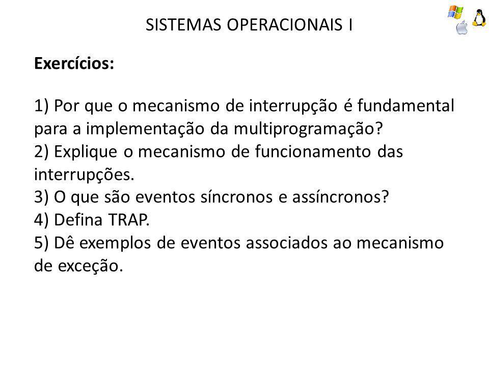 SISTEMAS OPERACIONAIS I Exercícios: 1) Por que o mecanismo de interrupção é fundamental para a implementação da multiprogramação? 2) Explique o mecani