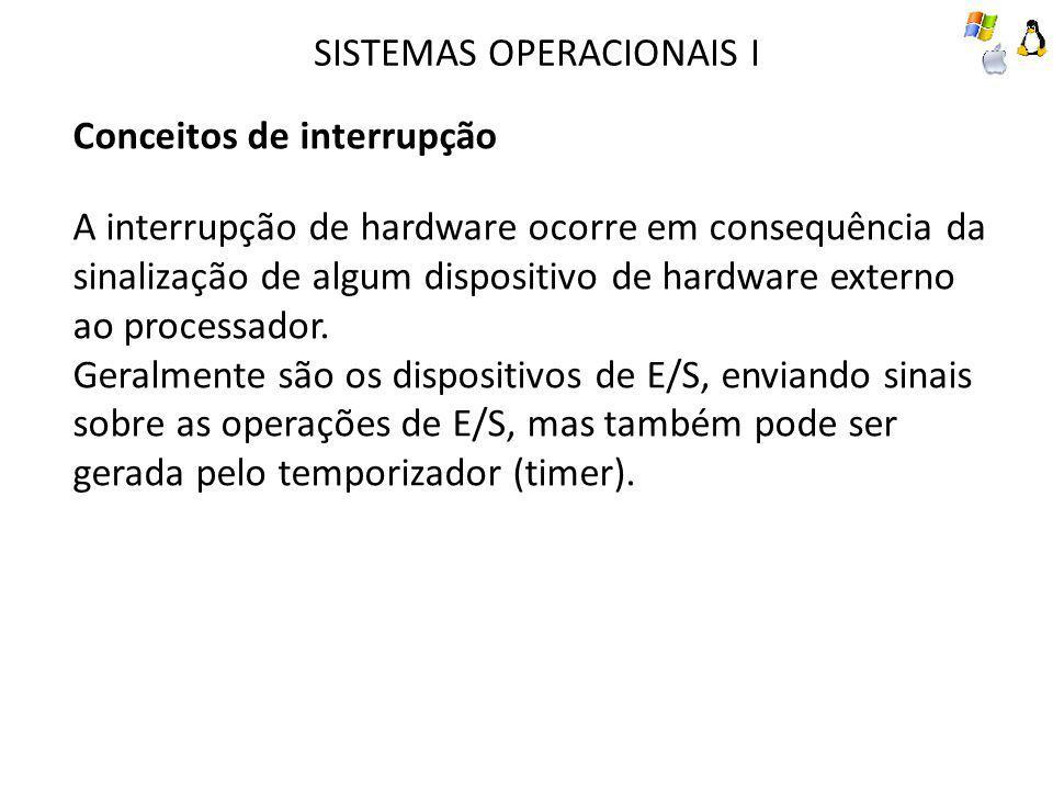 SISTEMAS OPERACIONAIS I Conceitos de interrupção A interrupção de hardware ocorre em consequência da sinalização de algum dispositivo de hardware externo ao processador.
