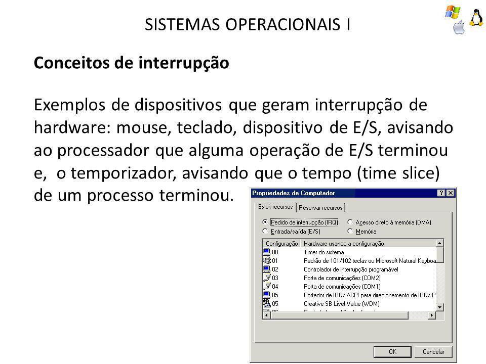 SISTEMAS OPERACIONAIS I Conceitos de interrupção Exemplos de dispositivos que geram interrupção de hardware: mouse, teclado, dispositivo de E/S, avisando ao processador que alguma operação de E/S terminou e, o temporizador, avisando que o tempo (time slice) de um processo terminou.