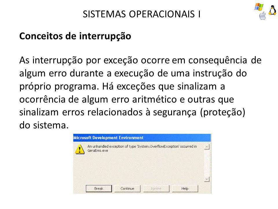 SISTEMAS OPERACIONAIS I Conceitos de interrupção As interrupção por exceção ocorre em consequência de algum erro durante a execução de uma instrução d