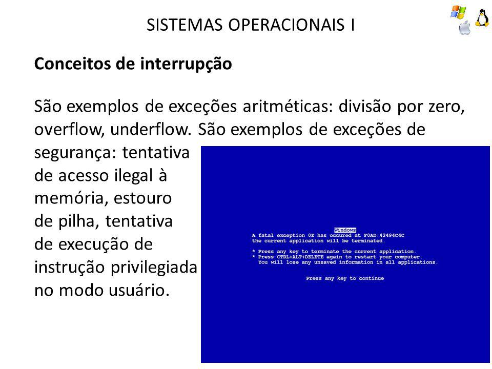 SISTEMAS OPERACIONAIS I Conceitos de interrupção São exemplos de exceções aritméticas: divisão por zero, overflow, underflow. São exemplos de exceções