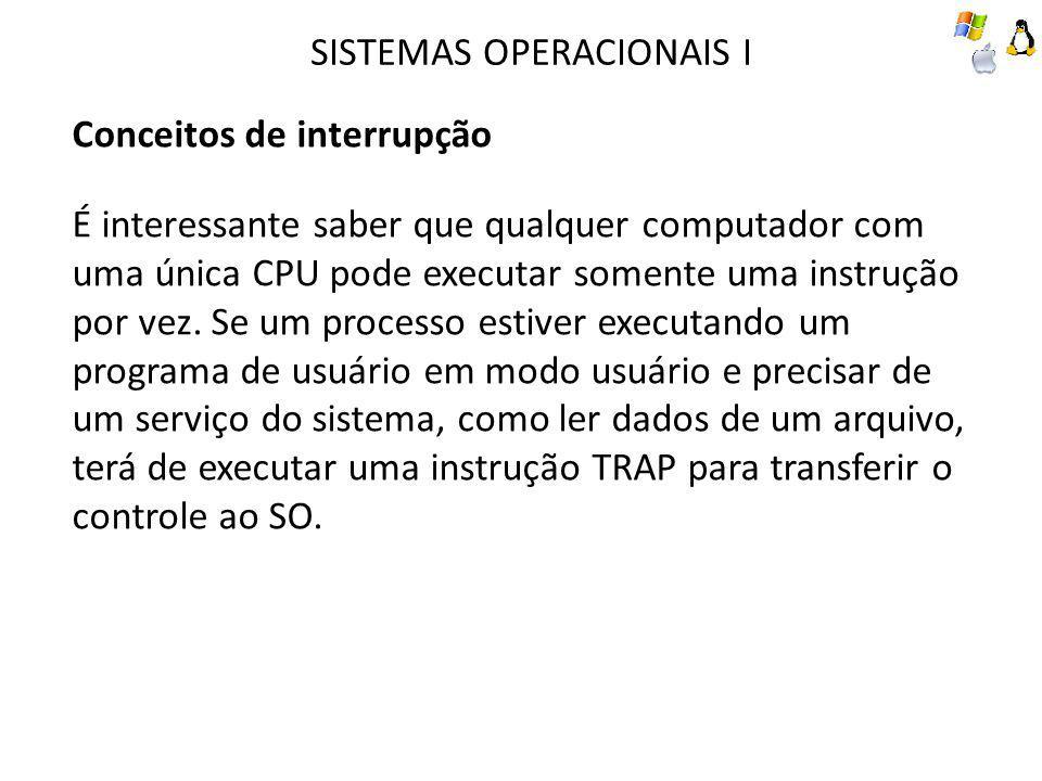 SISTEMAS OPERACIONAIS I Conceitos de interrupção É interessante saber que qualquer computador com uma única CPU pode executar somente uma instrução po
