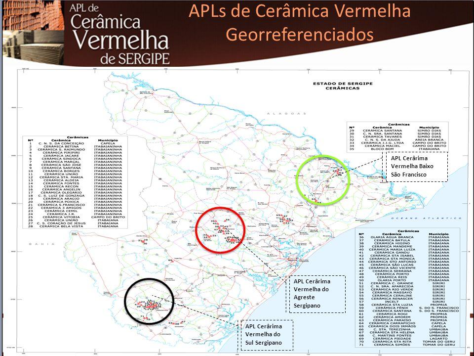 De acordo com a RAIS/2013, existem em Sergipe 122 estabelecimentos no segmento de cerâmica vermelha, gerando cerca de 3.822 empregos diretos.