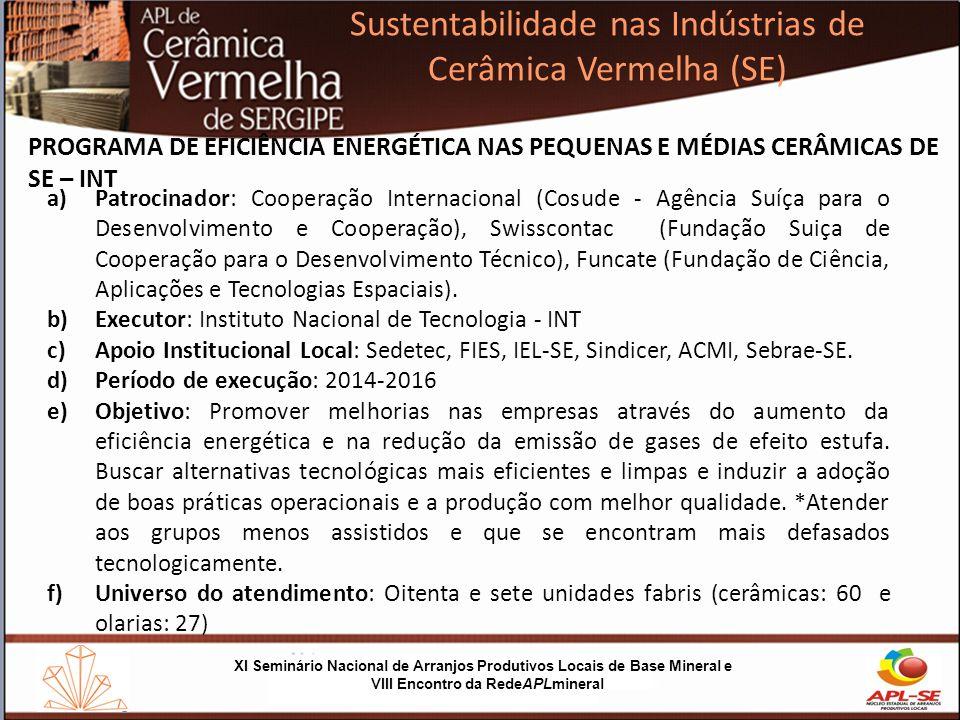 Sustentabilidade nas Indústrias de Cerâmica Vermelha (SE) XI Seminário Nacional de Arranjos Produtivos Locais de Base Mineral e VIII Encontro da RedeAPLmineral Área de pesquisa do INTT APL Cerârima Vermelha do Agreste Sergipano APL Cerârima Vermelha do Sul Sergipano APL Cerârima Vermelha Baixo São Francisco PROGRAMA DE EFICIÊNCIA ENERGÉTICA NAS PEQUENAS E MÉDIAS CERÂMICAS DE SERGIPE - ELLA