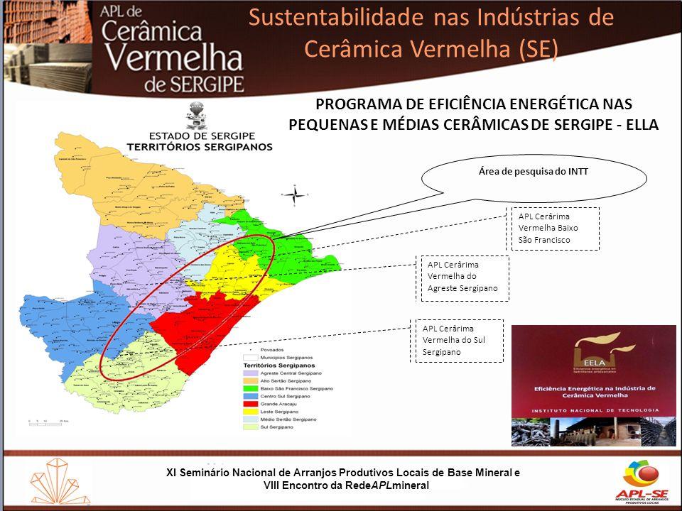 XI Seminário Nacional de Arranjos Produtivos Locais de Base Mineral e VIII Encontro da RedeAPLmineral Sustentabilidade nas Indústrias de Cerâmica Vermelha (SE) SUSTENTABILIDADE NAS INDÚSTRIAS DE CERÂMICA VERMELHA (SE) (produção mais limpa e uso sustentável) PRINCIPAIS DESTAQUES DO PROJETO As empresas receberam vistas técnicas e tiveram realizados diagnósticos, focando a eficiência energética, tendo em vista avaliar o potencial para ajustes à Produção Mais Lima (P+L).