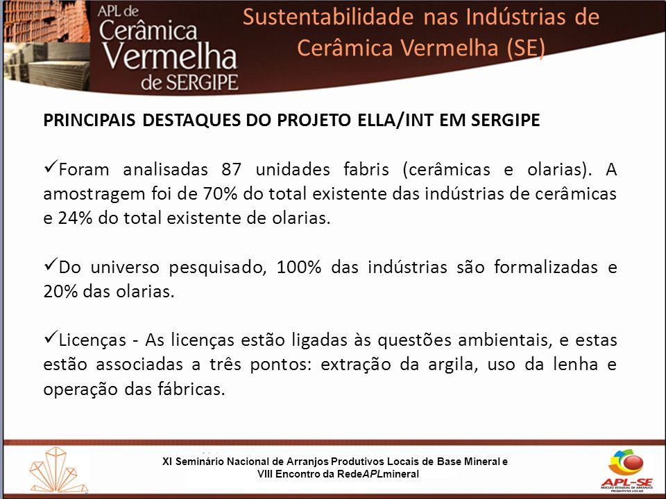 XI Seminário Nacional de Arranjos Produtivos Locais de Base Mineral e VIII Encontro da RedeAPLmineral Sustentabilidade nas Indústrias de Cerâmica Vermelha (SE) SUSTENTABILIDADE NAS INDÚSTRIAS DE CERÂMICA VERMELHA (SE) (produção mais limpa e uso sustentável) O QUE FOI REALIZADO 1)Curso em Produção Mais Lima (P+L) que capacitou consultores selecionados pelo SergipeTec para atender as empresas; 2)Diagnóstico de cada empresas do projeto; 3)Curso de Boas Práticas de Produção.