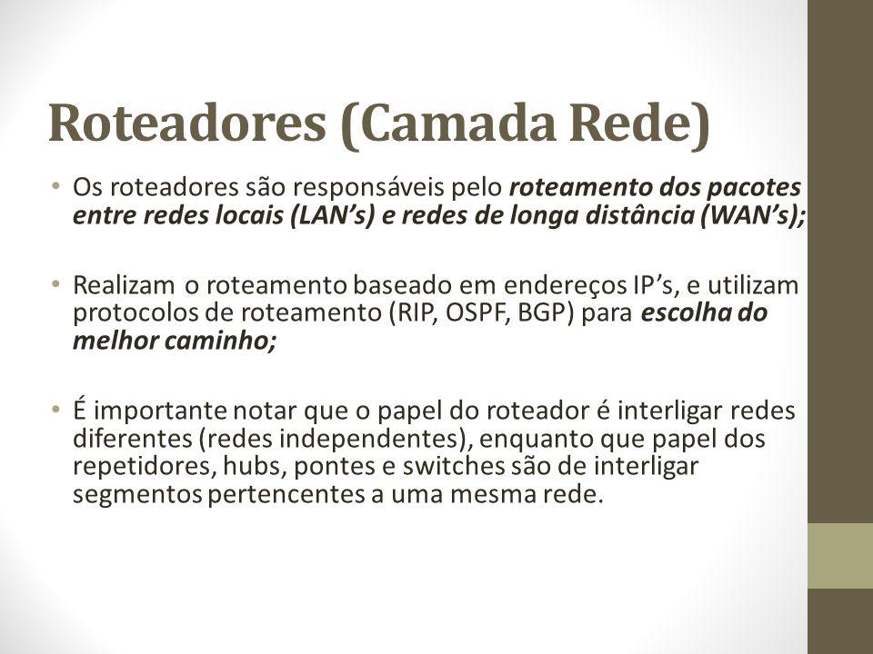 Roteadores (Camada Rede) Os roteadores são responsáveis pelo roteamento dos pacotes entre redes locais (LAN's) e redes de longa distância (WAN's); Rea
