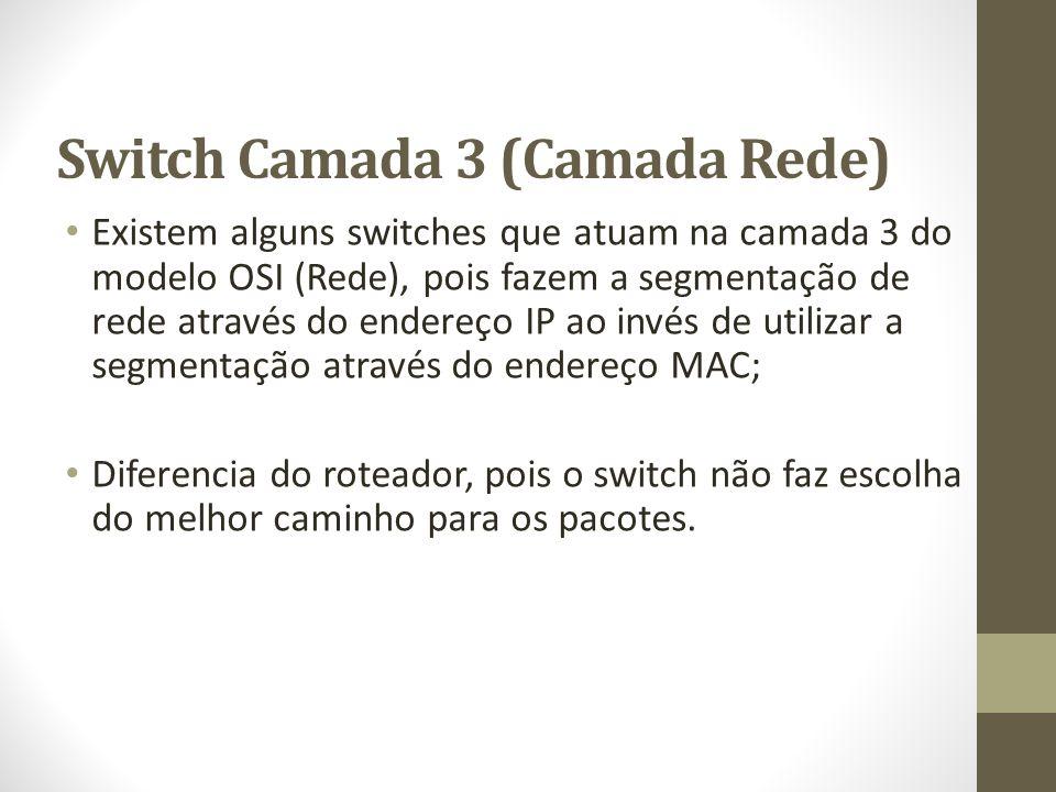 Switch Camada 3 (Camada Rede) Existem alguns switches que atuam na camada 3 do modelo OSI (Rede), pois fazem a segmentação de rede através do endereço