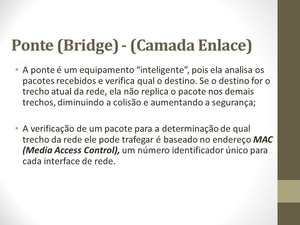 """Ponte (Bridge) - (Camada Enlace) A ponte é um equipamento """"inteligente"""", pois ela analisa os pacotes recebidos e verifica qual o destino. Se o destino"""